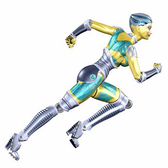 Female Robot Running