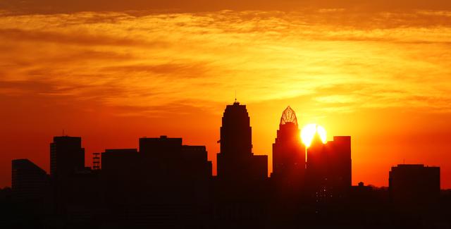 Sunrise over downtown Cincinnati