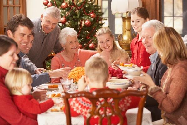 Large family eating Christmas dinner